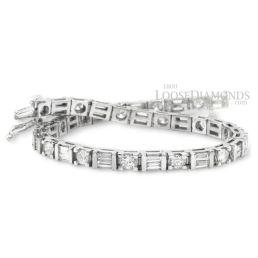 14k White Gold Modern Style Round & Baguette Diamond Bracelet