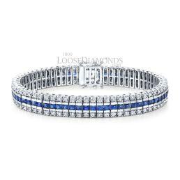 14k White Gold Modern Style Diamond & Sapphire Bracelet