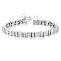 14k White Gold Modern Style Petite Round & Baguette Diamond Bracelet