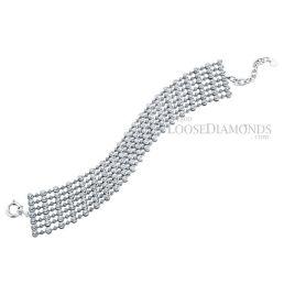 14k White Gold Classic Style Diamond 7-Row Bracelet