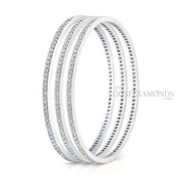 14k White Gold Classic Style Engraved Eternity Diamond Bangle Set