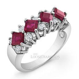 14k White Gold Vintage Style Diamond & Ruby Cocktail Ring