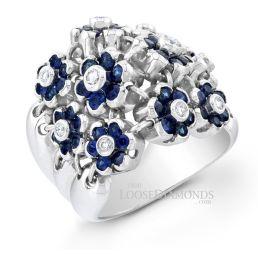 14k White Gold Art Deco Style Flower Diamond & Sapphire Cocktail Ring