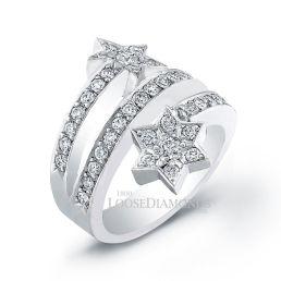 14k White Gold Modern Style Diamond Star Cocktail Ring
