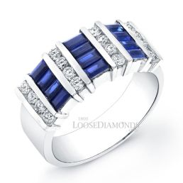14k White Gold Classic Style Diamond & Sapphire Cocktail Ring