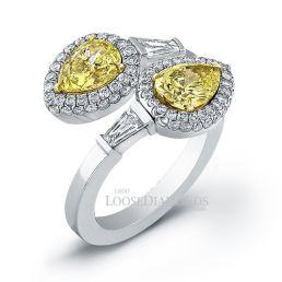 14k White Gold Art Deco Style Fancy Yellow Diamond Cocktail Ring