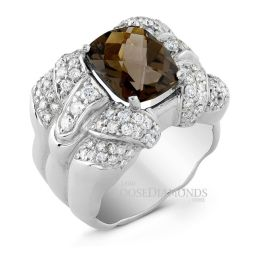 14k White Gold Classic Style Diamond & Smokey Topaz Cocktail Ring