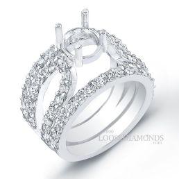 14k White Gold Modern Style Split Shank Diamond Cocktail Ring