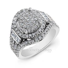 14k White Gold Modern Style Diamond Halo Cluster Cocktail Ring