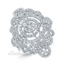 14k White Gold Vintage Style Diamond Cocktail Ring