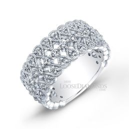 14k White Gold Vintage Style Engraved Diamond Cocktail Ring