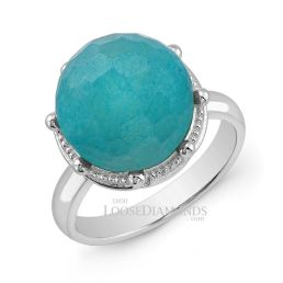 14k White Gold Classic Style Engraved Crown Opal Stone Cocktail Ring