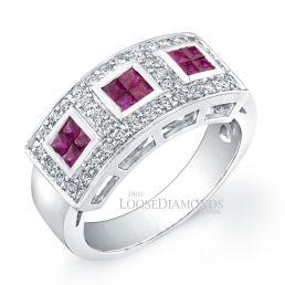 14k White Gold Modern Style Diamond & Ruby Cocktail Ring