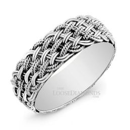 14k White Gold 7mm Tri-Color Gold Braided Wedding Band