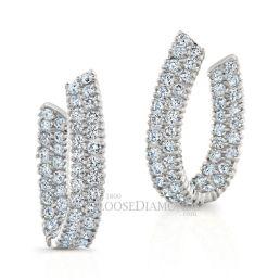 14k White Gold Modern Style Inside Out Diamond Earrings