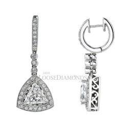 14k White Gold Vintage Style Engraved Trilliant Cut Diamond Earrings