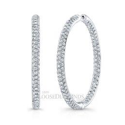 14k White Gold Inside-Out Diamond Hoop Earrings