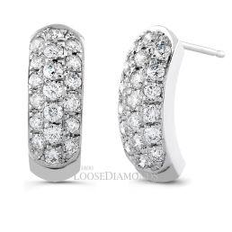 14k White Gold Half-Hoop Diamond Earrings