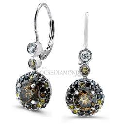 14k White Gold Art Deco Style Multi Color Diamond Earrings