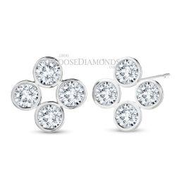14k White Gold White Gold and Round Diamond Earrings