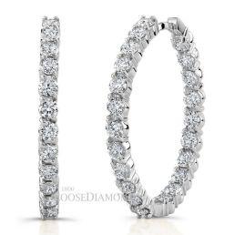 14k White Gold Round Diamond Hoop Earrings