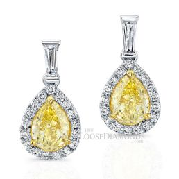 14k White Gold Classic Style Dangling Pear Shape Yellow Diamond Earrings
