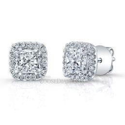 14k White Gold Modern Style Princess Cut Diamond Halo Stud Earrings