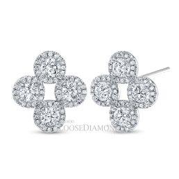 14k White Gold Round Diamond Halo Earrings