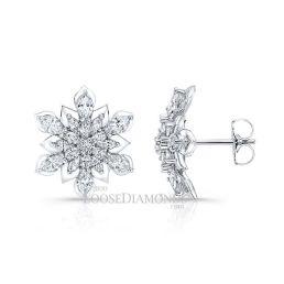 14k White Gold Modern Floral Style Diamond Earrings