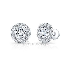 14k White Gold Modern Style Halo Round Diamond Earrings