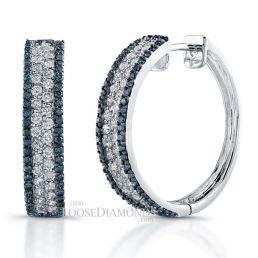 14k White Gold Blue & White Diamond Hoop Earrings