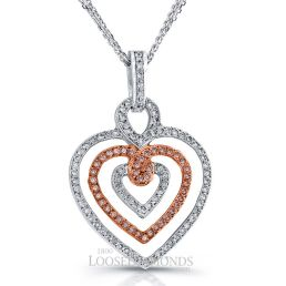 14k White Gold Vintage Style Tri-Heart Shape Engraved Pink Diamond Pendant