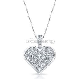 14k White Gold Modern Style Heart Shape Princess Cut Diamond Pendant
