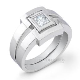 14k White Gold Men's Princess Cut Diamond Ring