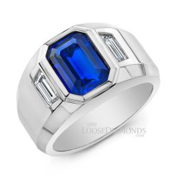 14k White Gold Men's Diamond & Sapphire Ring