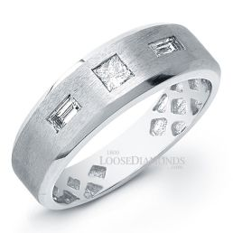 14k White Gold Men's Modern Style Diamond Ring