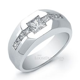14k White Gold Men's Modern Style Diamond Wedding Ring