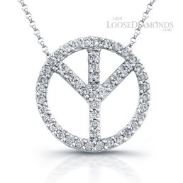 14k White Gold Peace Sign Diamond Pendant