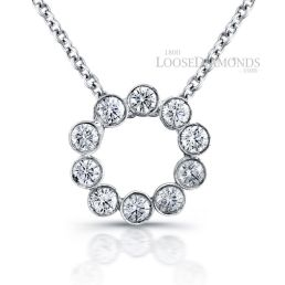 14k White Gold Classic Style Round Diamond Necklace
