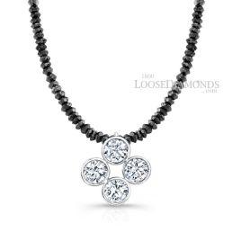 14k White Gold Clover Style Diamond Pendant