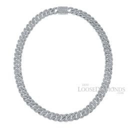 14k White Gold Miami Cuban Link Diamond Necklace