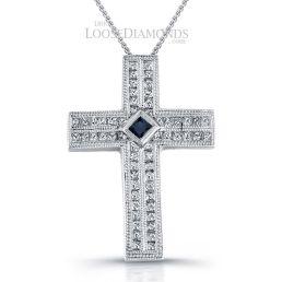 14k White Gold Vintage Style Engraved Diamond & Sapphire Cross Pendant