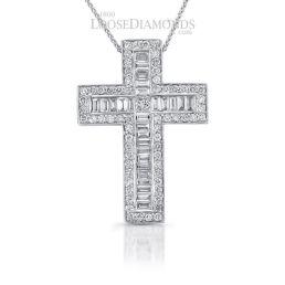 14k White Gold Art Deco Style Diamond Cross Pendant