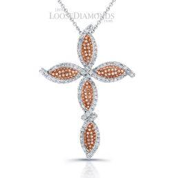 14k White Gold Vintage Style Diamond Cross Diamond