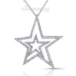 14k White Gold Modern Style Diamond Star Pendant