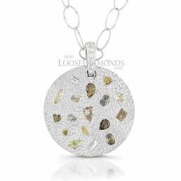 14k White Gold Vintage Style Mutli-Color Fancy Shape Diamond Pendant