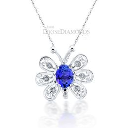 14k White Gold Classic Style Diamond & Sapphire Butterfly Pendant