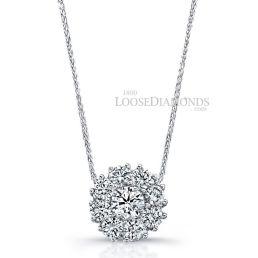 14k White Gold Modern Style Diamond Halo Pendant