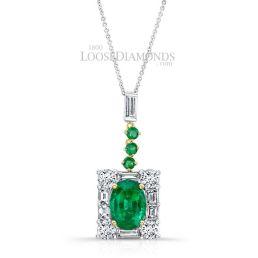 14k White Gold Art Deco Style Baguette Diamond & Green Emerald Pendant