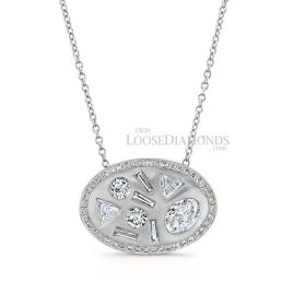 14k White Gold Modern Style Mixed Diamond Pendant